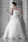 A line Sweetheart Floor Length Chapel Appliques Wedding Dress