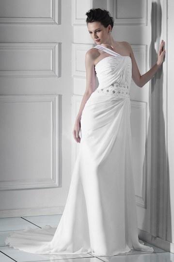 Sheath/Column One shoulder Floor length Chapel Beaded Wedding Dress