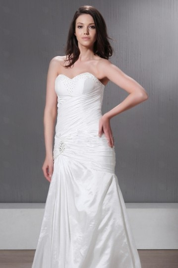 Mermaid Strapless Laced Up Taffeta Wedding Dress