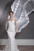 A Line / Princess Sweetheart One Shoulder Cathedral Lace Wedding Dress