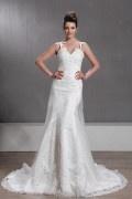 Sheath / Column Sweetheart Sleeveless Court Appliques Wedding Dress