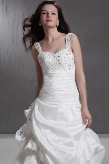 Ball Gown Straps Beaded Taffeta Wedding Dress