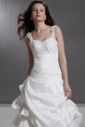 Ball Gown Straps Beaded Taffeta Wedding Dress