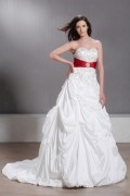 Sweetheart Embroidery Asymmetrical Pick up A line Wedding Gown