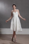 Delicate A Line Spaghetti Straps Knee Length Embroidery Lace Wedding Dress