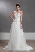 Ball Gown Sweetheart Floor Length Chapel Train Beaded Wedding Dress