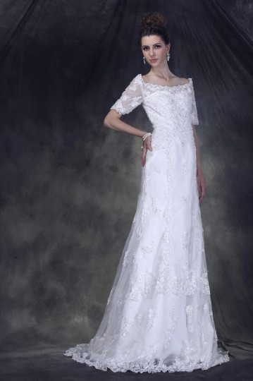 Vestido de noiva vintage decote Canoa e manga curta de Estilo luxo