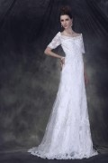 Bateau Half Sleeve Floor length Lace Wedding Dress