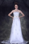 A Line Strapless Chapel Train Embroidery Wedding Dress