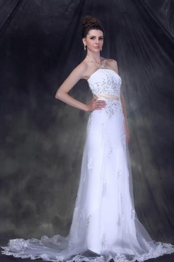 Maravilloso Vestido de Novia con Strapless Cola Capilla Corte A