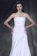 Strapless Ruched Bodice with Slim Simple A line Skirt Wedding Dress