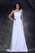 Empire One Shoulder Floor length A Line Flower Chiffon Bridal Gown