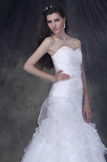 Robe de mariée sans bretelle sans manche décolleté en cœur Trompette / Sirène à traîne Chapel