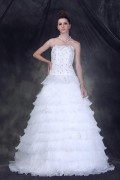 Strapless A line Floor length Tiered Beaded Organza Wedding Dress