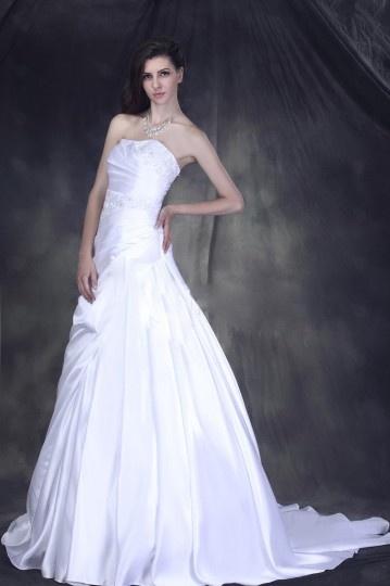 Vestido de noiva linha A Sem alça Vestido longo plissado e decorado de jóias
