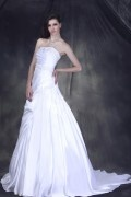 A Line Strapless Floor Length Chapel Beaded & Pleated Wedding Dress