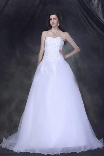 Vestido de noiva princesa Sem alça decote em coração