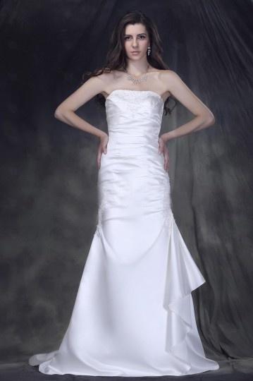A Line Strapless Court Train Satin Wedding Gown