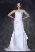 A Line Strapless Court Train Satin Wedding Gown