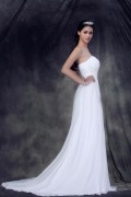 Strapless Empire Waist Court Train Ruffle Wedding Dress