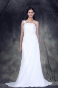 Vestido de noiva coluna um ombro Vestido longo cauda curto com apliques