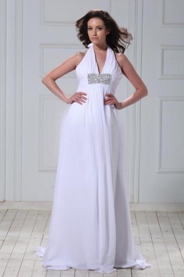 Vestido de noiva Império decote meio Cauda Curto