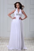 Empire Halter Backless Floor length Court Wedding Dress
