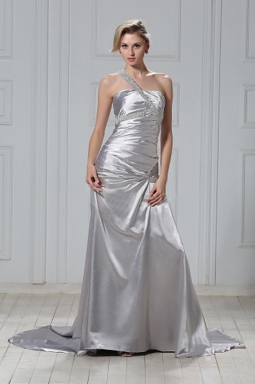 Trumpet / Mermaid One Shoulder Court Pleats Color Wedding Dress