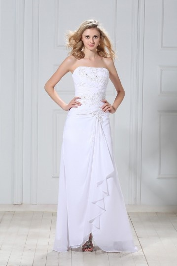 A Line Strapless Ruffle Applique Chiffon Bridal Gown