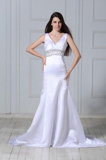 V neck Beaded Trumpet / Mermaid Floor length Chapel Wedding Dress