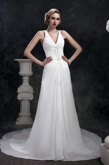 Sheath / Column V neck Criss Cross Back Chiffon Wedding Dress