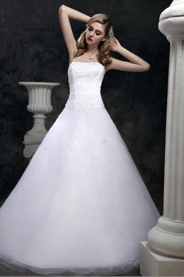 Vestido de noiva princesa Sem alça cauda curto decorado de jóias