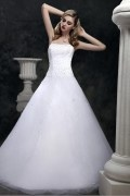 Romantic White Tulle Strapless Long Princess Wedding dress