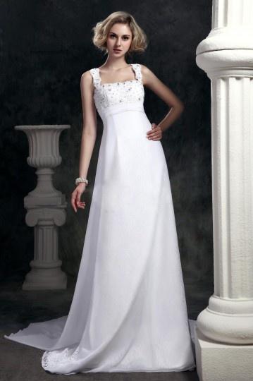 Vestido de noiva simple bainha/ coluna decote quadrado Cauda Watteau