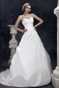 A Line Spaghetti Straps Floor Length Chapel Ruffle Wedding Dress