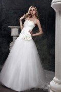 Chic Sweetheart Tulle Flowers Princess Long Bridal Dress