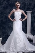 Mermaid Strapless Chapel Train Embroidery Lace Wedding Gown