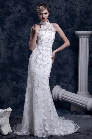 Gorgeous Trumpet Mermaid High Neck Chapel Lace Wedding Dress