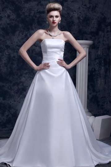 Chic Strapless Satin Long Princess Wedding Dress
