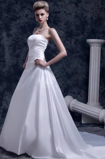 Robe de mariée bustier simple et chic sans bretelle à dos nu ...