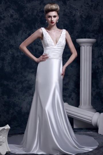 sensual Vestido noiva Império decote em V profundo bainha
