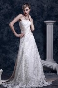 A Line Strapless Lace Sash Wedding Dress