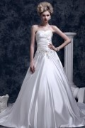 Sweetheart Sweep Train Satin A Line Ivory Wedding Dress