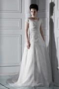 Gorgeous A line/Princess Short Sleeve V Neck Appliques Wedding Dress