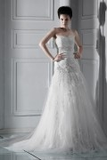 Glorious A Line Sweetheart Sleeveless Chapel Appliques Wedding Dress