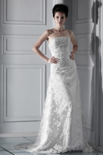 Floor Length Lace A Line Sweetheart Church Wedding Gown
