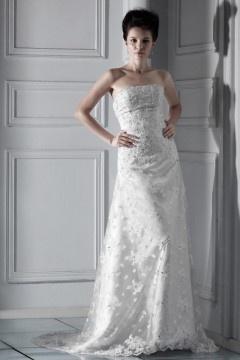 Robe de mariée dentelle à Ligne-A à encolure bateau avec ornement perlé
