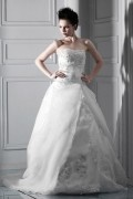 ELegant Ball Gown Strapless Embroidery Chapel Train Wedding Dress