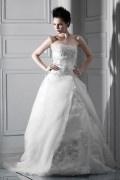 Luxus Ball gown Trägerloses Brautkleider aus Organza mit Schnürung