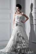 A Line Strapless Floor Length Chapel Tiered Wedding Dress